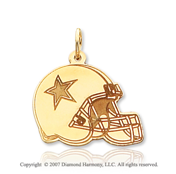 14k Yellow Gold Carved Dallas Cowboys Helmet Pendant