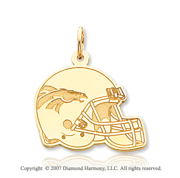 14k Yellow Gold Carved Denver Broncos Helmet Pendant