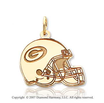 14k Yellow Gold Carved Green Bay Packers Helmet Pendant