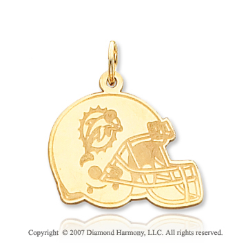 14k Yellow Gold Carved Miami Dolphins Helmet Pendant