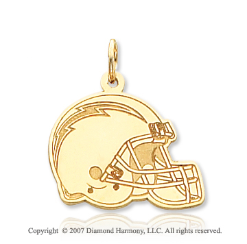 14k Yellow Gold Fine San Diego Chargers Helmet Pendant