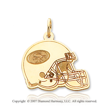 14k Yellow Gold San Francisco 49ers Helmet Pendant