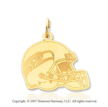 14k Yellow Gold Carved Seattle Seahawks Helmet Pendant