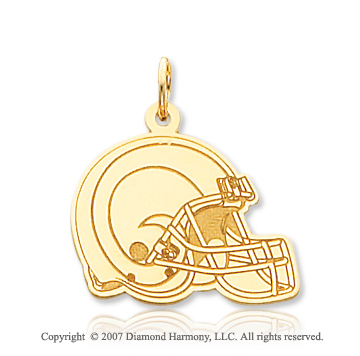 14k Yellow Gold Carved St. Louis Rams Helmet Pendant