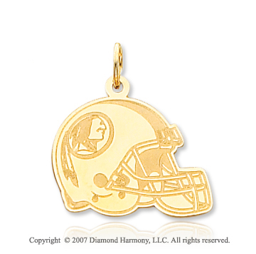 14k Yellow Gold Fine Washington Redskins Helmet Pendant