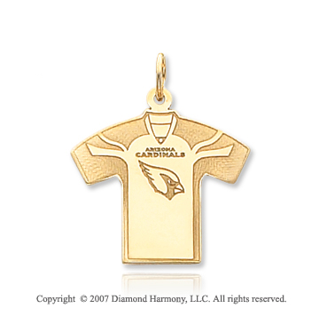 14k Yellow Gold Fine Arizona Cardinals T-Shirt Pendant