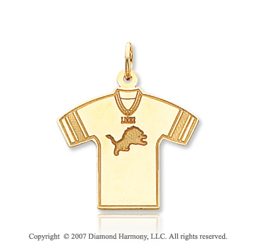 14k Yellow Gold Sporty Detroit Lions T-Shirt Pendant