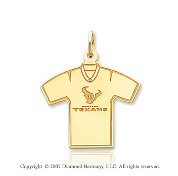 14k Yellow Gold Sporty Houston Texans T-Shirt Pendant
