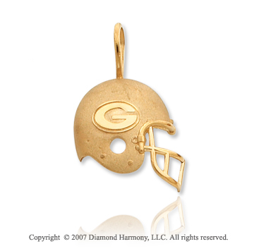14k Yellow Gold Green Bay Packers Cast Helmet Pendant