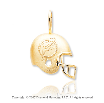 14k Yellow Gold Miami Dolphins Cast Helmet Pendant