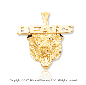 14k Yellow Gold Chicago Bears Finely Carved Pendant