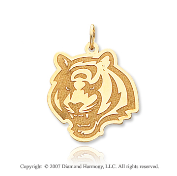 14k Yellow Gold Bengal Tiger Finely Carved Pendant