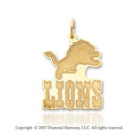 14k Yellow Gold Detroit Lions Outline 22mm Logo Pendant