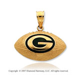 14k Yellow Gold Green Bay Packers Fine Football Pendant