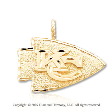 14k Yellow Gold Kansas City Chiefs Carved Logo Pendant