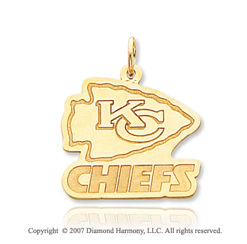 14k Yellow Gold Kansas City Chiefs Stylish Logo Pendant