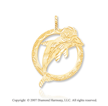 14k Yellow Gold Miami Dolphins Carved Logo Pendant