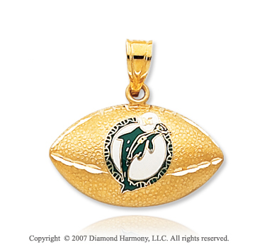 14k Yellow Gold Miami Dolphins Carved Football Pendant