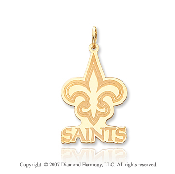 14k Yellow Gold New Orleans Saints Fine Logo Pendant