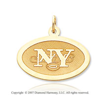 14k Yellow Gold New York Jets Stylish Oval Pendant