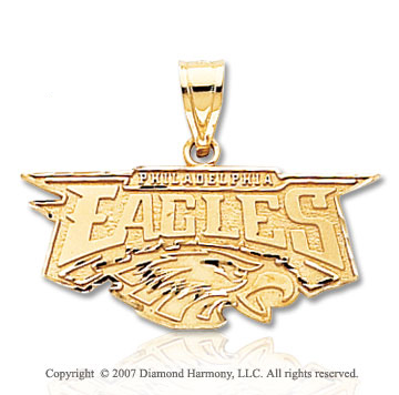 14k Yellow Gold Philadelphia Eagles 28mm Logo Pendant