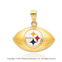 14k Yellow Gold Pittsburgh Steelers Football Pendant