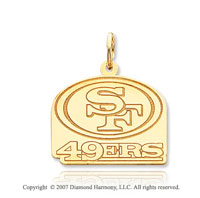 14k Yellow Gold San Francisco 49ers Carved Logo Pendant