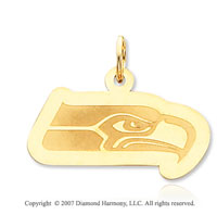 14k Yellow Gold Seattle Seahawks Stylish Logo Pendant