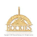 14k Yellow Gold Colorado Rockies Elegant Carved Pendant
