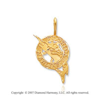 14k Yellow Gold Florida Marlins Elegant Carved Pendant