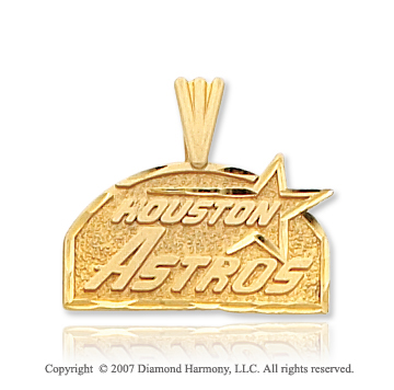 14k Yellow Gold Houston Astros Elegant Carved Pendant