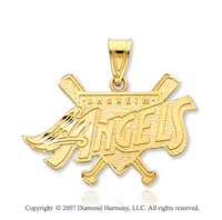 14k Y Gold Los Angeles Angels Elegant Carved Pendant