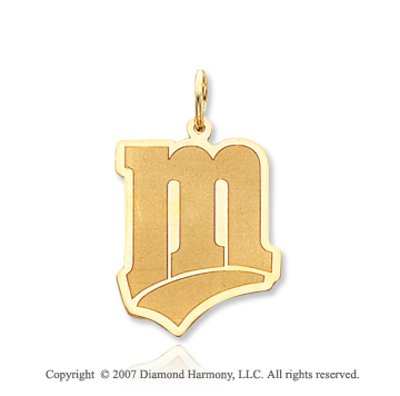 14k Yellow Gold Minnesota Twins Stylized 'M' Pendant