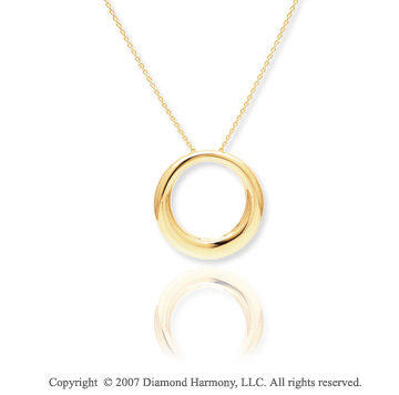 14k Yellow Gold Stylish Fine Smooth Circle Pendant