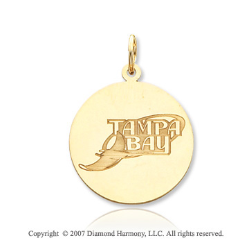 14k Yellow Gold Tampa Bay Devil Rays Circle Pendant
