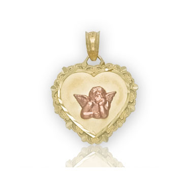 14k Two Tone Gold Elegant Angel Heart Carved Pendant