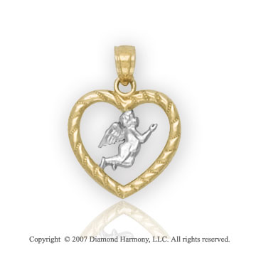 14k Two Tone Gold Stylish Angel Heart Carved Pendant