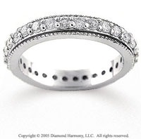 14k White Gold Milgrain 1/2 Carat Diamond Eternity Band