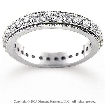 14k White Gold Milgrain 0.90 Carat Diamond Eternity Band