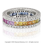 14k White Gold Rainbow Sapphire 1/2 Carat Diamond Ring