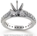 14k White Gold Milgrain 1/2 Carat Diamond Side Stone Ring