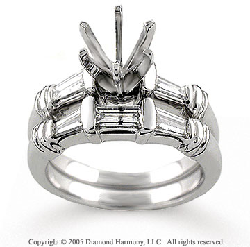 14k White Gold Baguette 3/4 Carat Diamond Bridal Set