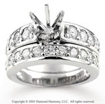 14k White Gold Round Prong 1.40 Carat Diamond Bridal Set