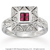 14k White Gold Milgrain Ruby 1/5 Carat Diamond Statement Ring