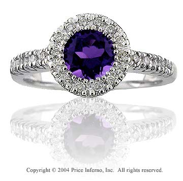 14k White Gold Diamond Round Amethyst Fashion Ring