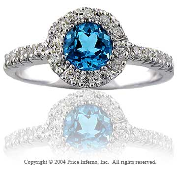 50's Cocktail Diamond Round 14k White Gold Blue Topaz Ring