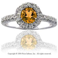 14k White Gold Citrine 0.20 Carat Diamond Statement Ring