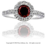 14k White Gold Garnet 0.20 Carat Diamond Fashion Ring