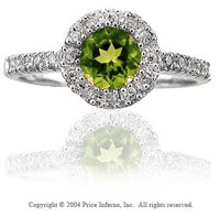 14k White Gold Peridot 0.20 Carat Diamond Fashion Ring
