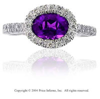 14k White Gold Oval Amethyst 0.20 Carat Diamond Statement Ring